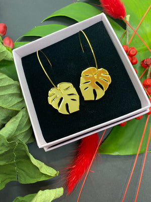 Monsera Golden Hoops, Gold Color Mirror