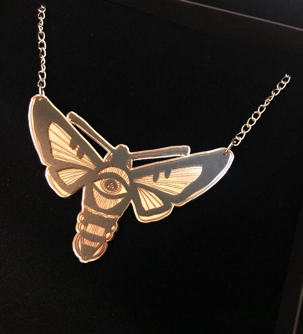 Hawkmoth Necklace, Rose Gold Mirror
