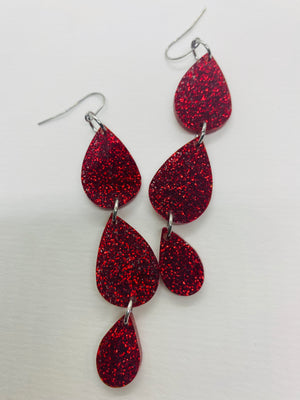 Vampire Sparkle Tears Earrings, Red Glitter
