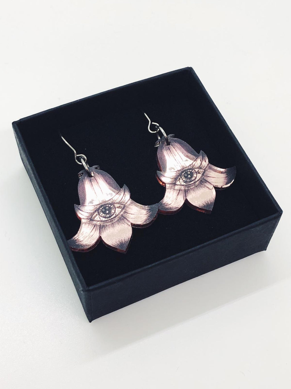 Mini Flower Totems Earrings, Rose Gold Color Mirror