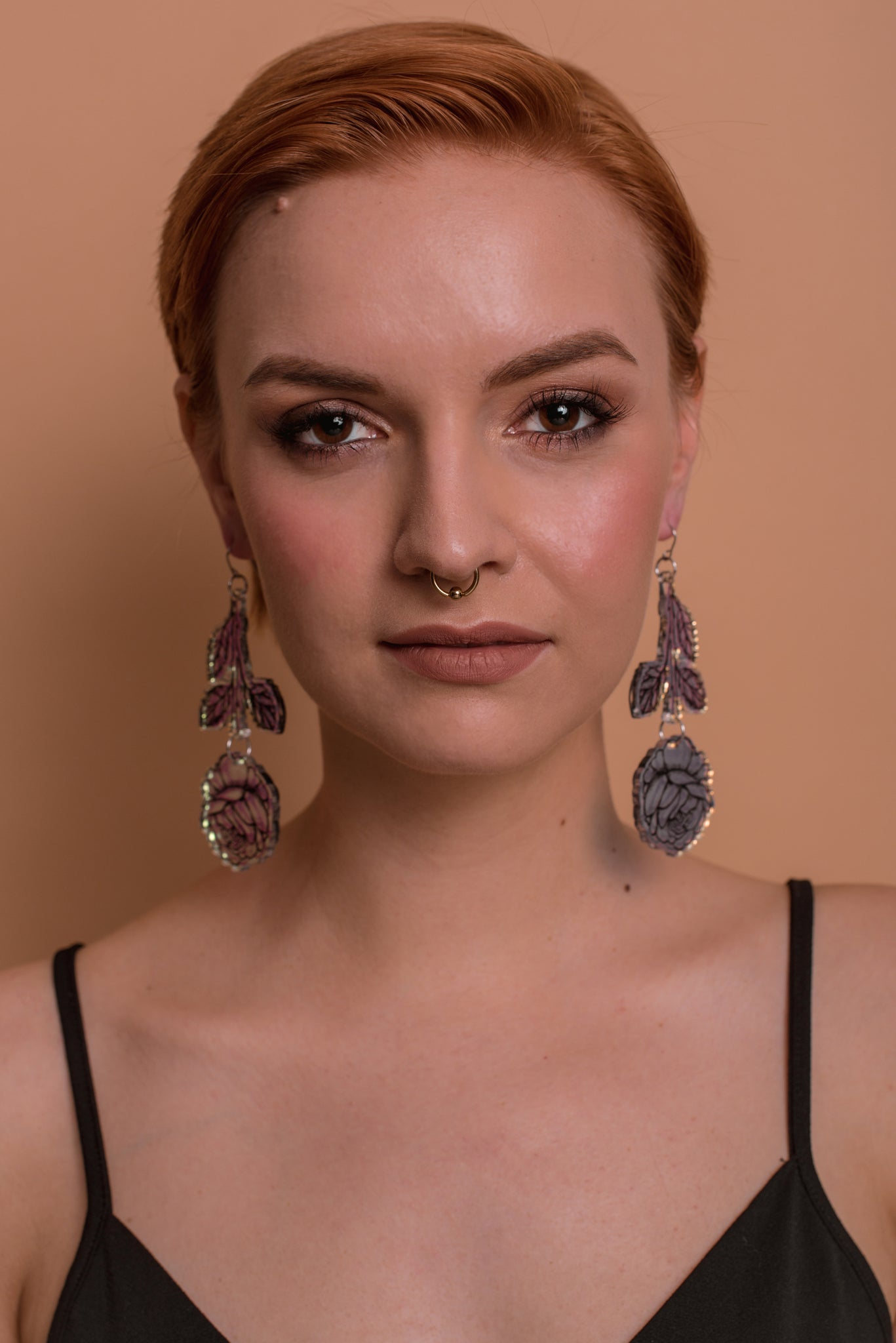 Rose Branch Earrings, Hologram