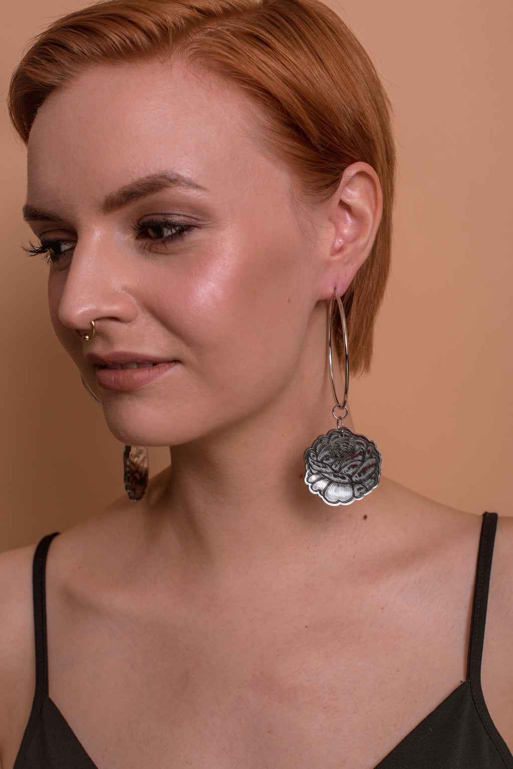 Rose Statement Hoop Earrings, Double Sided Mirror