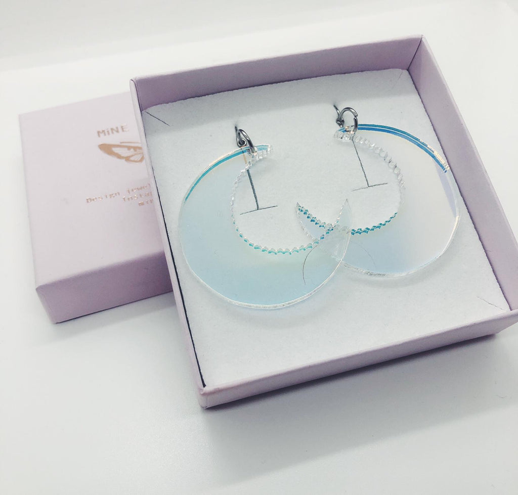 Moon, Holographic Earrings