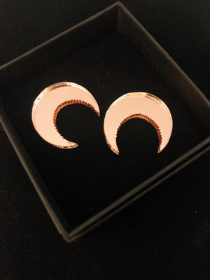 Cresent Moon Stud Earrings, Rose Gold Mirror