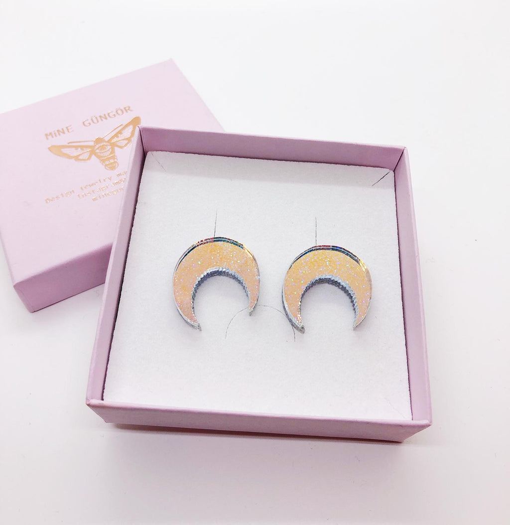 Cresent Moon Stud Earrings, Glitter&Hologram