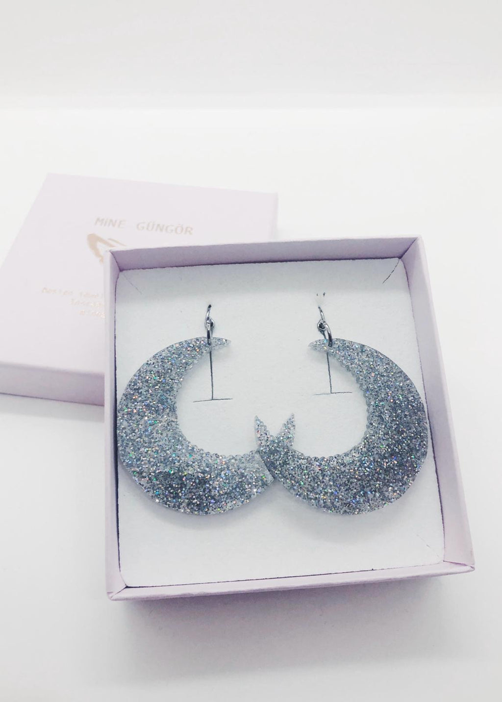 Moon, Silver Glitter Earrings