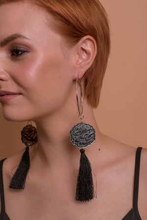 Rose Statement Hoop Tassel Earrings, Double Sided Mirror/Black Tassel