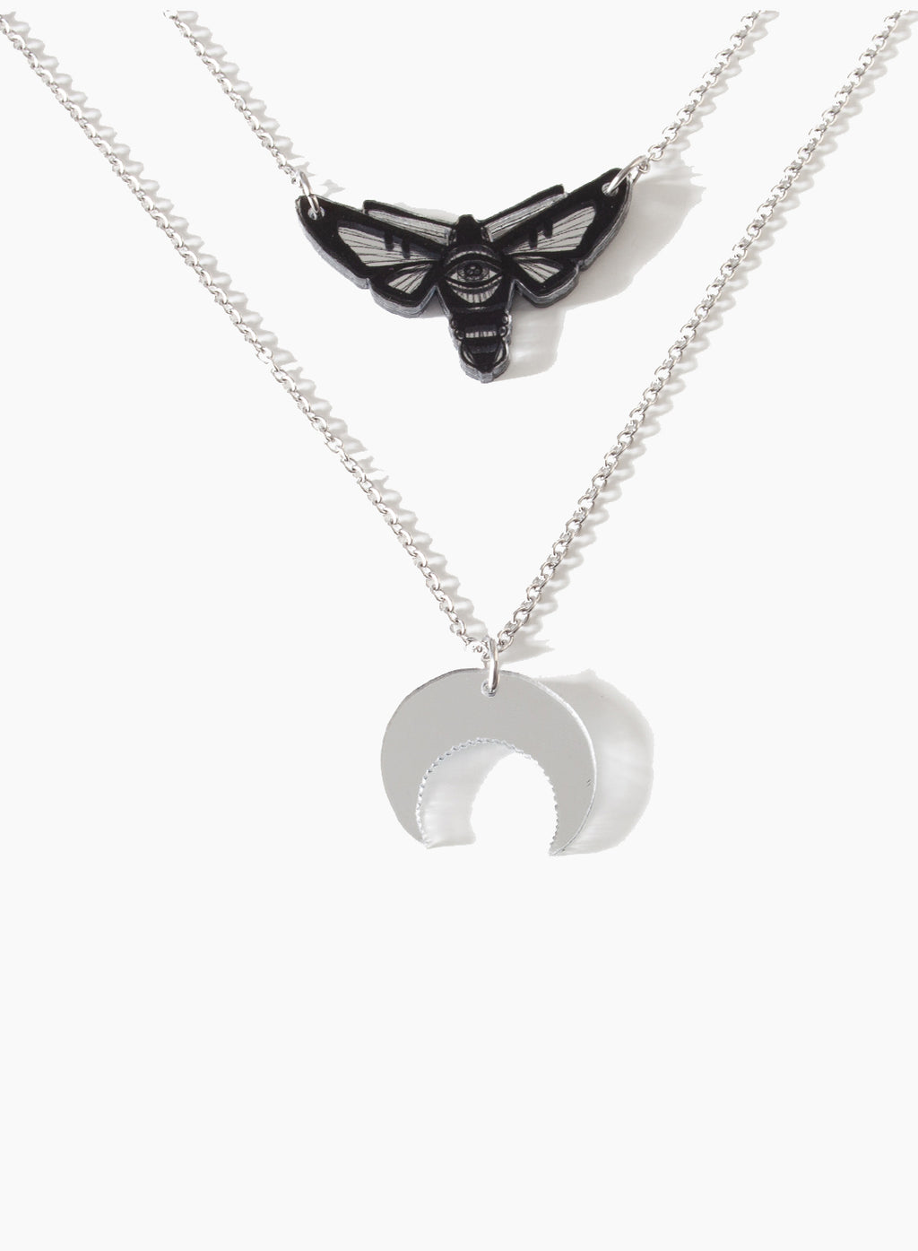 AW19 Mineatures Hawkmoth Charm Necklace, Double Sided Mirror
