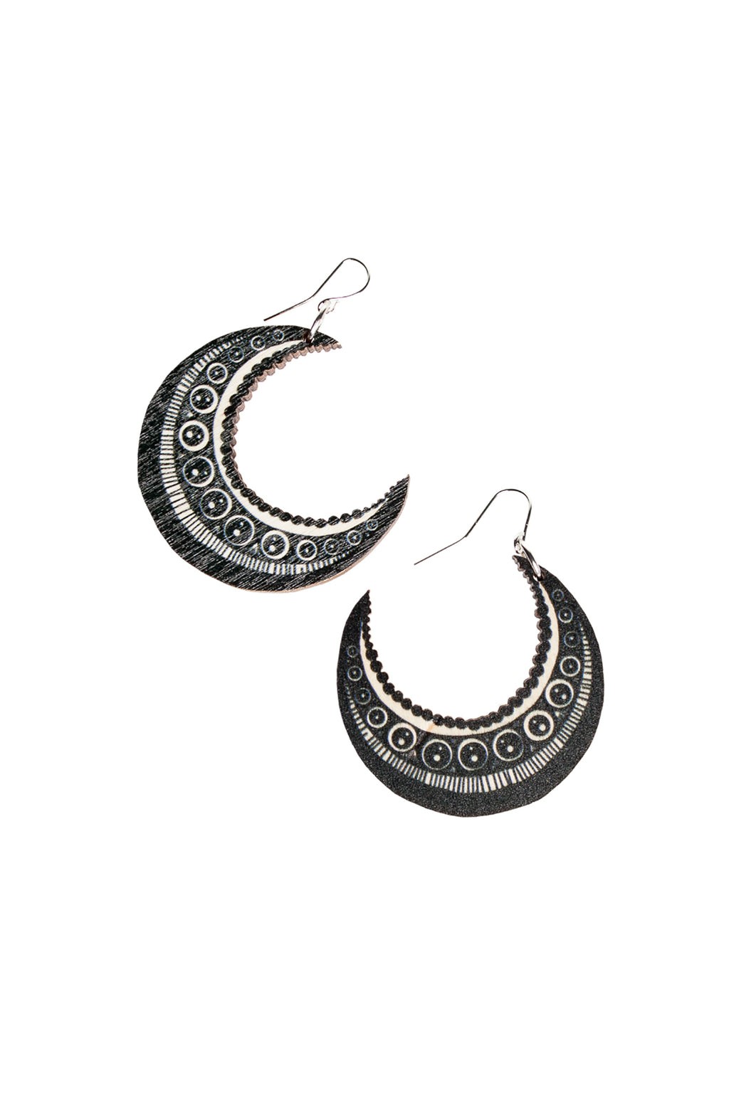 Moon Earrings, Black/Wood