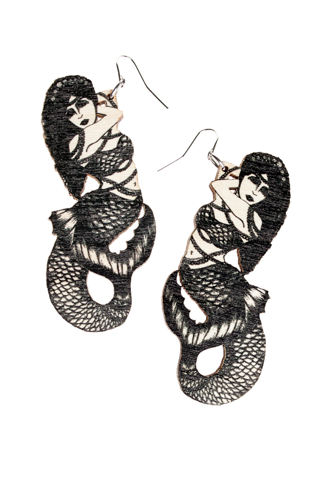Mermaids earrings, Black/Wood