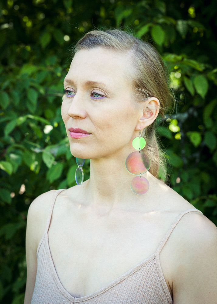 Triple Soap Bubbles Statement Size Earrings, Hologram