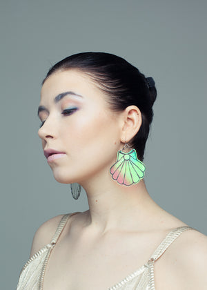 Seashell Statement Size Earrings, Hologram