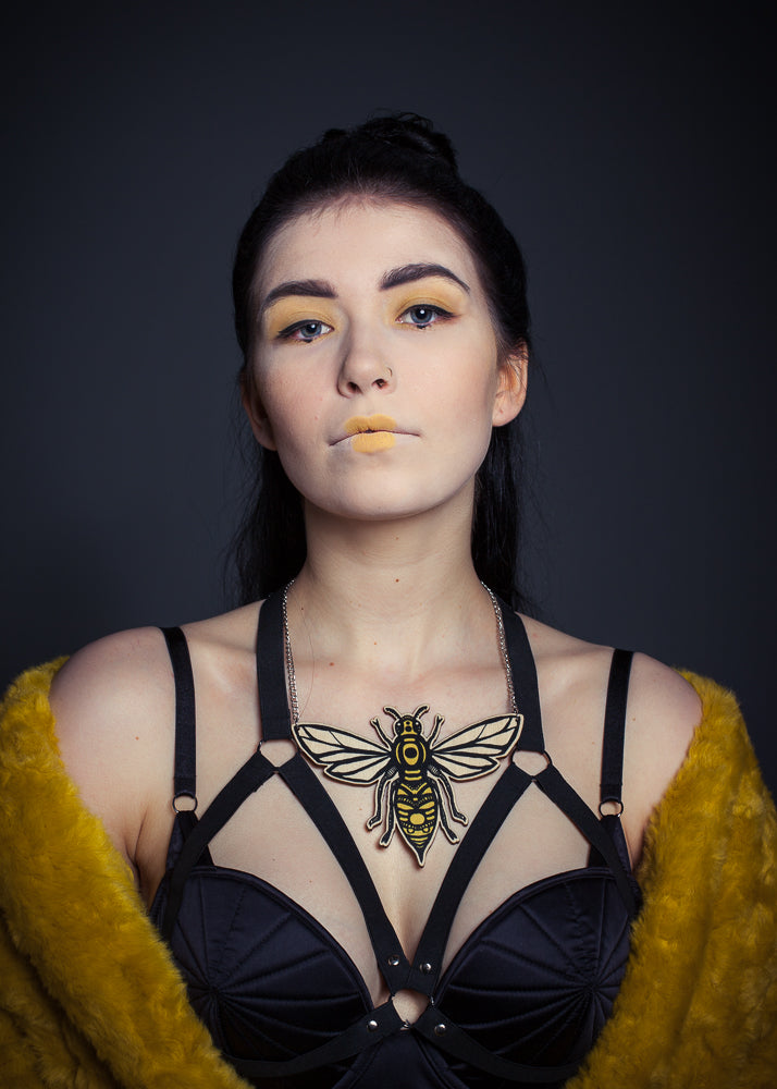 Queen Bee Necklace, Wood