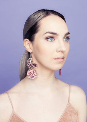 Rose Branch Earrings, Pink