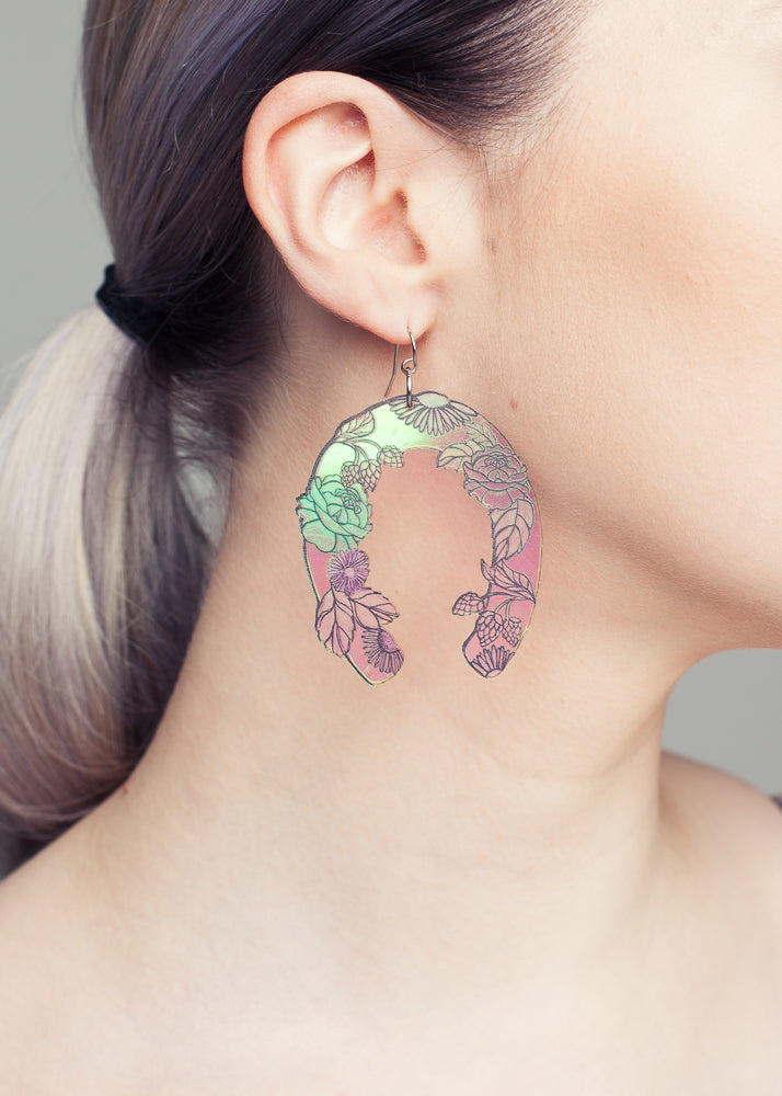 Unicorn Shoe Earrings, Hologram