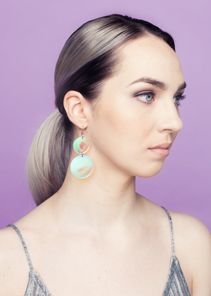 Double Soap Bubbles Casual Size Earrings, Hologram