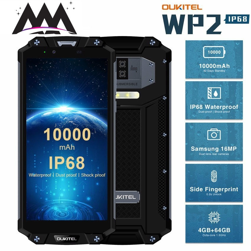 OUKITEL WP2 10000mAh IP68 Waterproof shockproof Mobile Phone Android 8.0 4GB+64GB Octa Core 4G Smartphone 16MP NFC Cell Phones