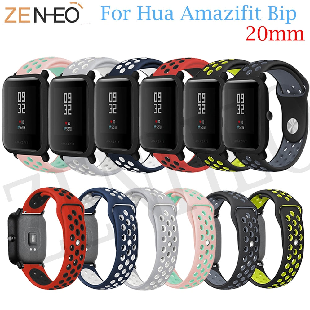 20mm Silicone Wrist Strap for Xiaomi Huami Amazfit Bip BIT PACE Lite Youth Smart Watch For Huami Amazfit Bip Sports Band Strap