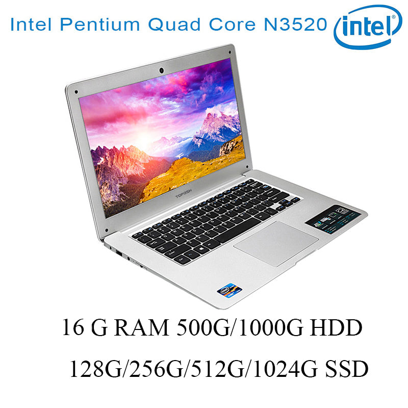 "P01 laptop 8G RAM 128G/256G/512G/1024G SSD 500G/1000G HDD Intel N3520 14"" keyboard and OS language available for choose"
