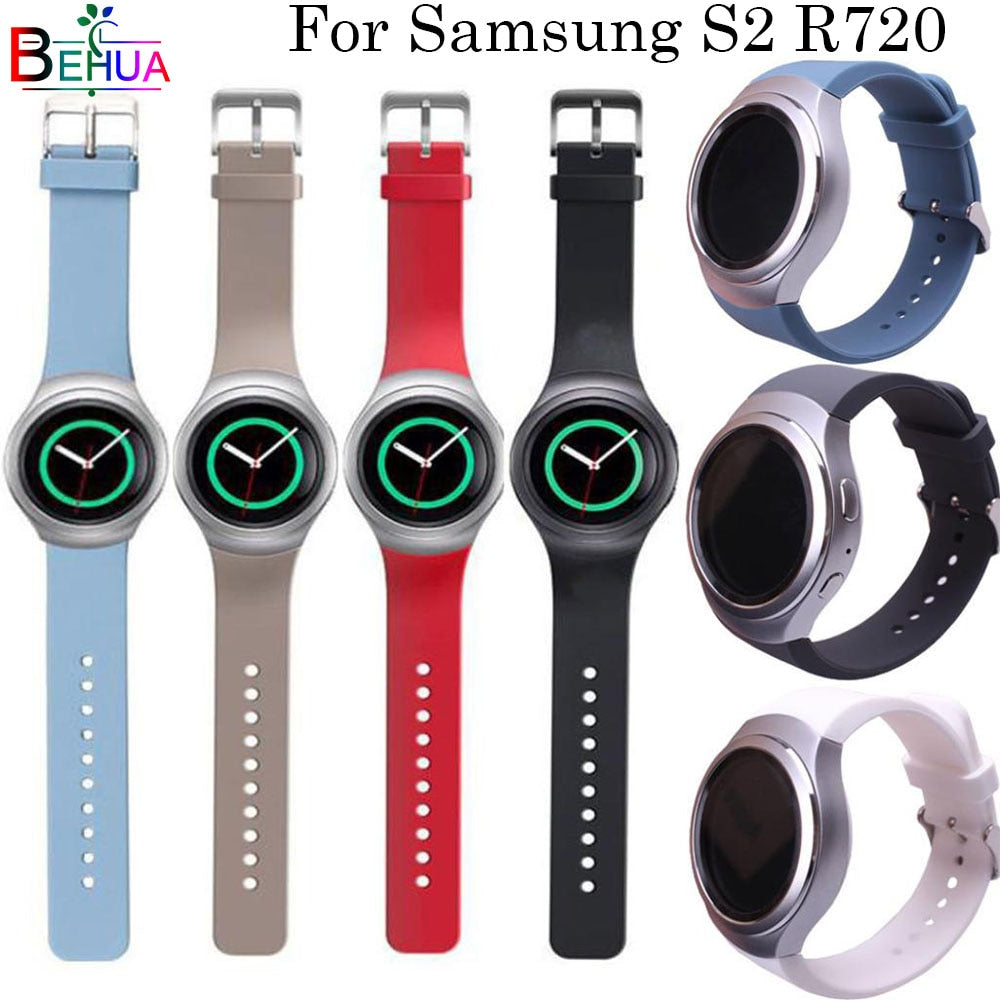 For Samsung Gear S2 R720 watch strap Replacement Silicone Solid color sport watchband Straps For Samsung Gear smart watch strap