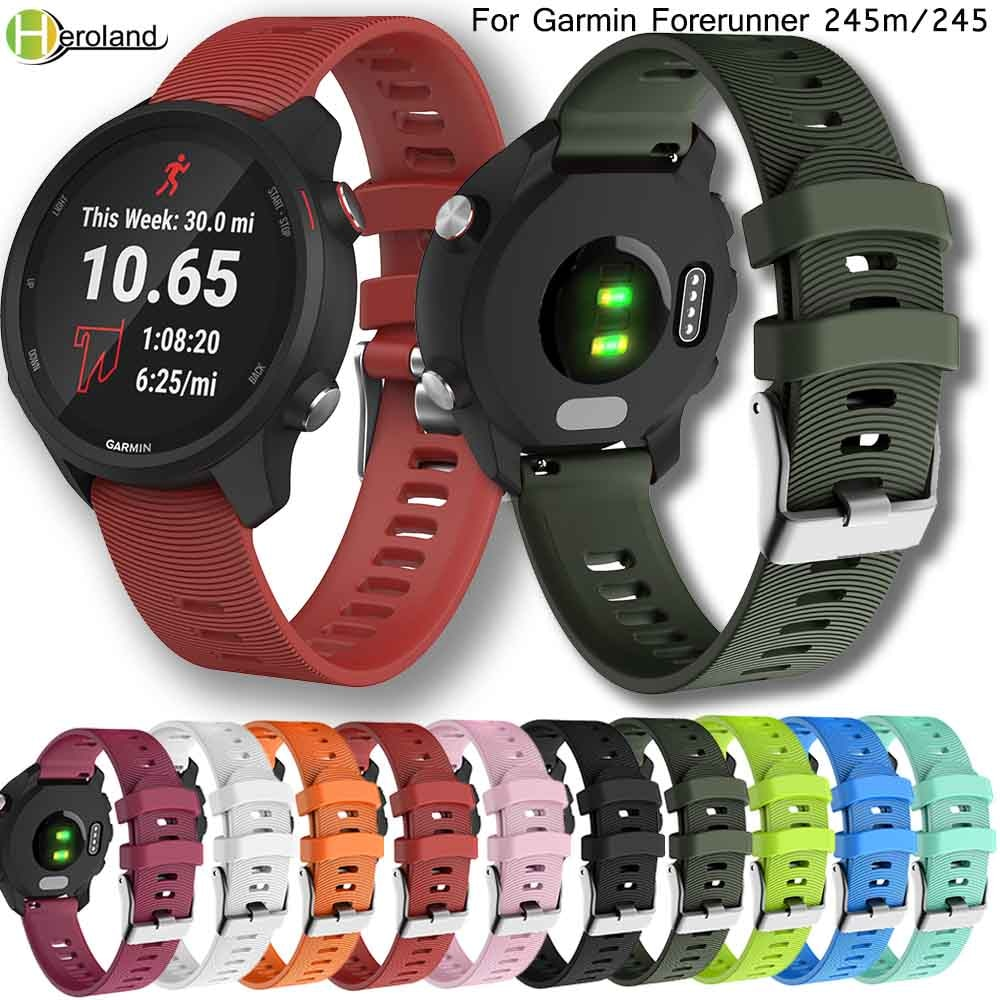 Watch strap for Garmin Forerunner 245/245M/Vivoactive 3 soft silicone Smart watches bands for Forerunner 645 Music Wristbands