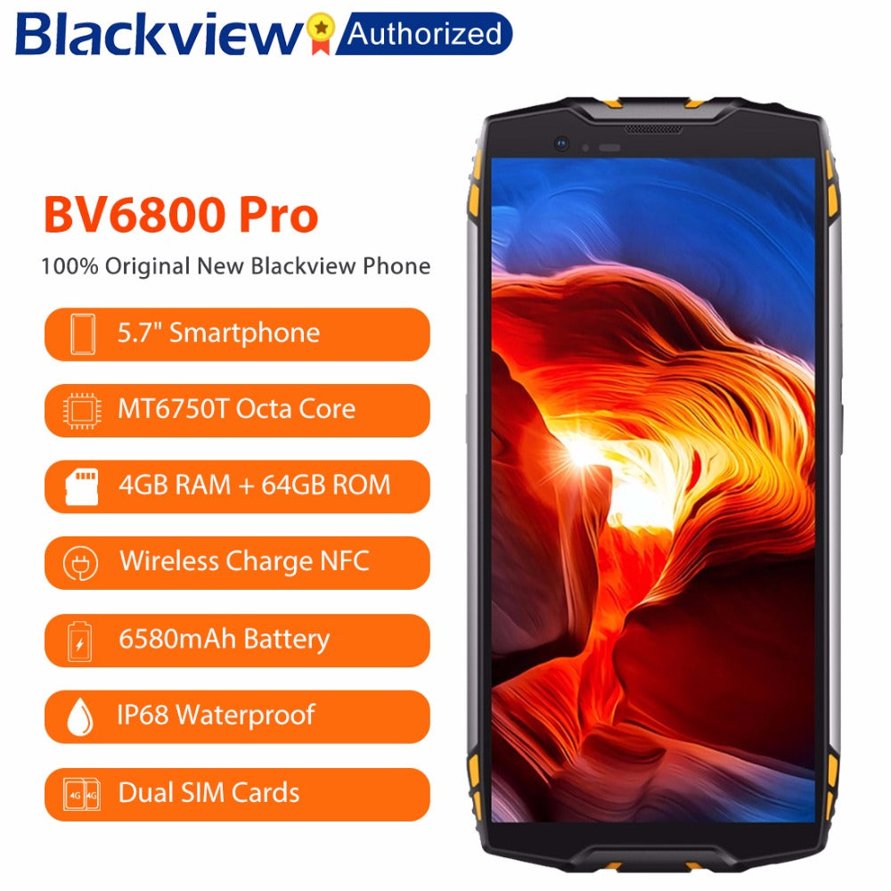 "Blackview BV6800 Pro 5.7"" Smartphone IP68 Waterproof MT6750T Octa Core 4GB+64GB 6580mAh Battery Wireless Charge NFC Cell phone"