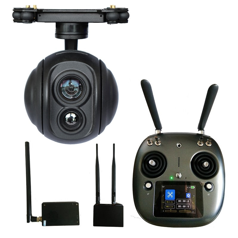 Drone 15Km Remote Control Transmitter Receiver UAV Video Transmitter with 18x zoom dual sensor camera gimbal