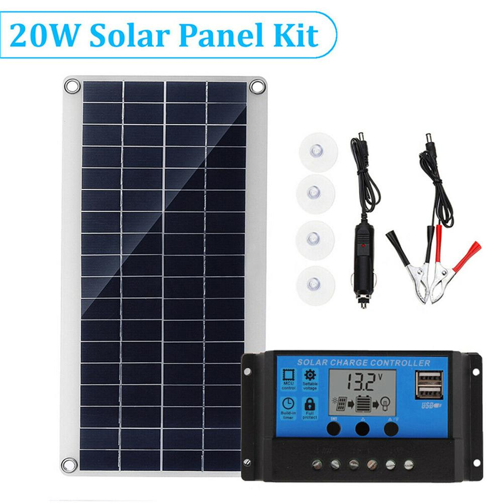 Multi-Purpose Mobile Phone Charging Solar Board 20W Portable Polycrystalline Flexible Solar Power Panel For Laptop Car Airplane