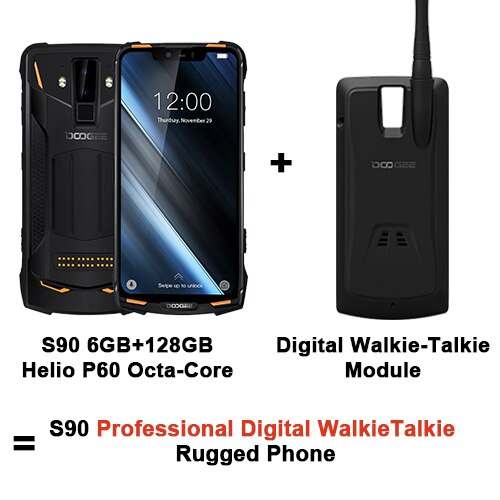 "DOOGEE S90 IP68/IP69K Modular Rugged Cell Phone 6.18"" 5050mAh 6GB 128GB Helio P60 Octa Core Android 8.1 16.0M Camera Phone"