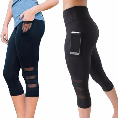 Calf-length, high-rise yoga legging with mesh cutouts - Onezea
