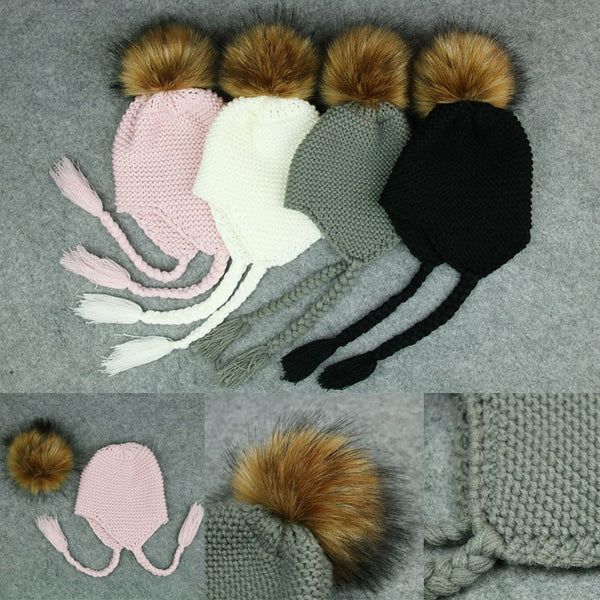 Braided Knitted beanies with pom pom for babies - Onezea
