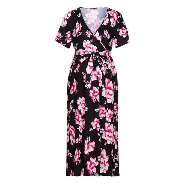 Women Maternity Floral Print Short Sleeve Sashes - Onezea