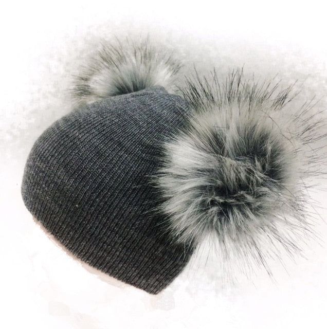 Double Pom pom beanies for babies - Onezea
