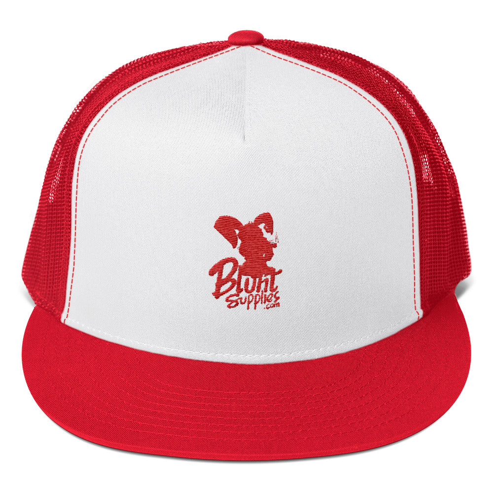 Trucker hat (Red and White w/ Red Print Blunt Supplies Logo)