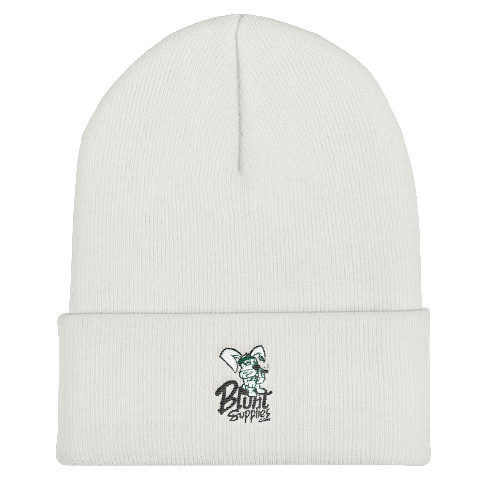 Cuffed Beanie/Skullcap (White w/ Logo Blunt Supplies)