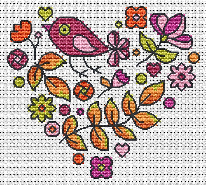 Autumn Heart with Bird Free Cross Stitch Chart