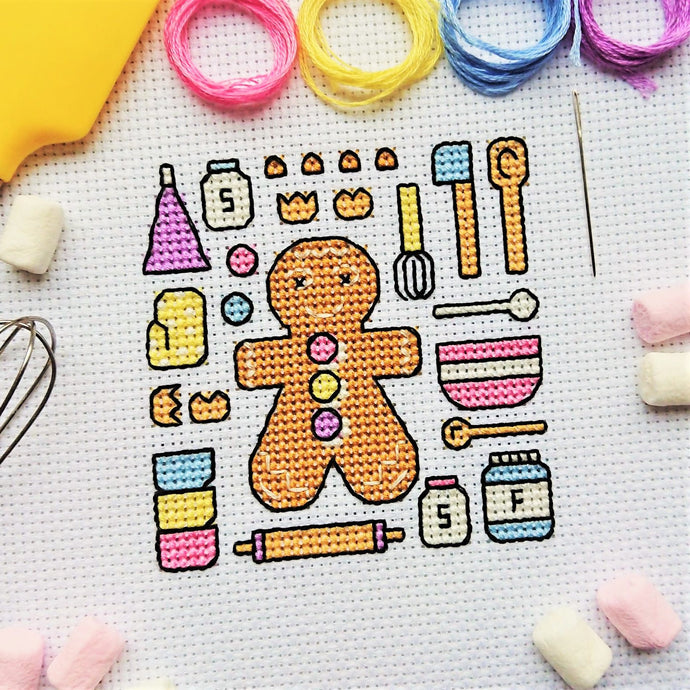 Gingerbread Baking Free Cross Stitch Chart