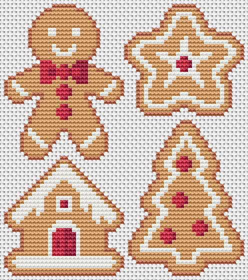 Free Gingerbread Cross Stitch Chart