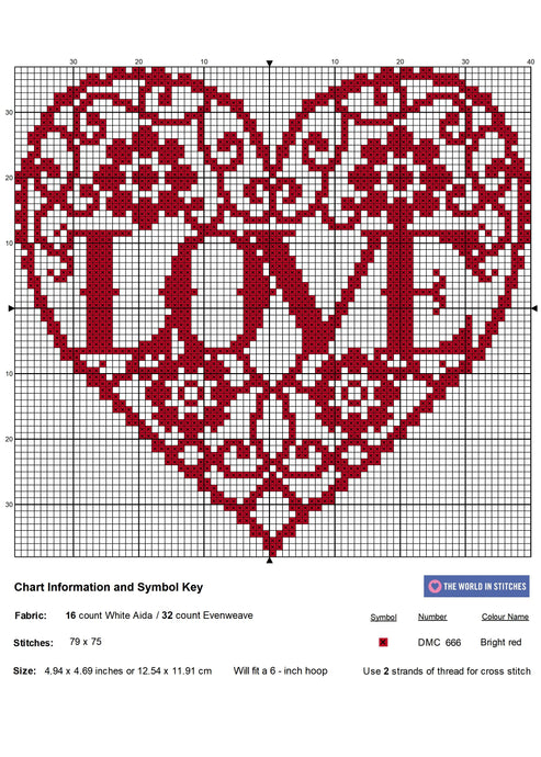 LOVE Heart Free Cross Stitch Chart