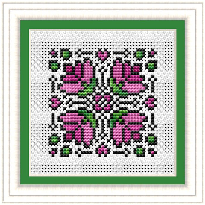 Lotus Mandala Free Cross Stitch Chart