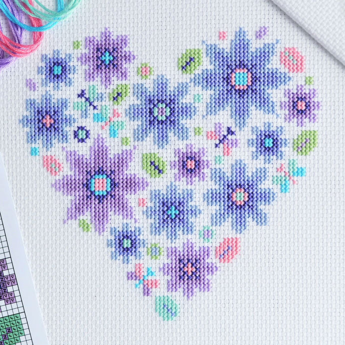 Mini Floral Heart Sampler Cross Stitch Chart