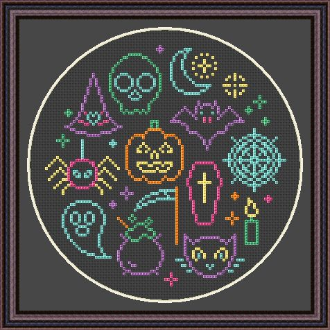 Free Neon Halloween Cross Stitch Chart