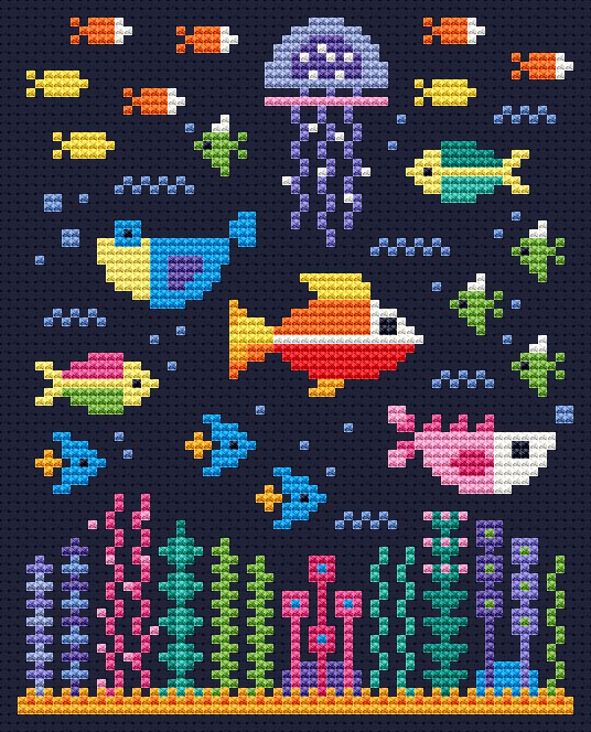 Underwater Scene Free Cross Stitch Chart