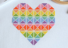 Load image into Gallery viewer, Geometric Heart Cross Stitch Kit