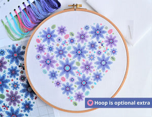 Floral Heart Sampler Cross Stitch Kit