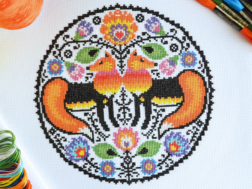 Folk Foxes Cross Stitch Kit
