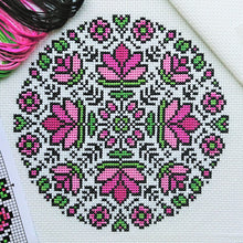 Load image into Gallery viewer, Lotus Mandala Cross Stitch Kit