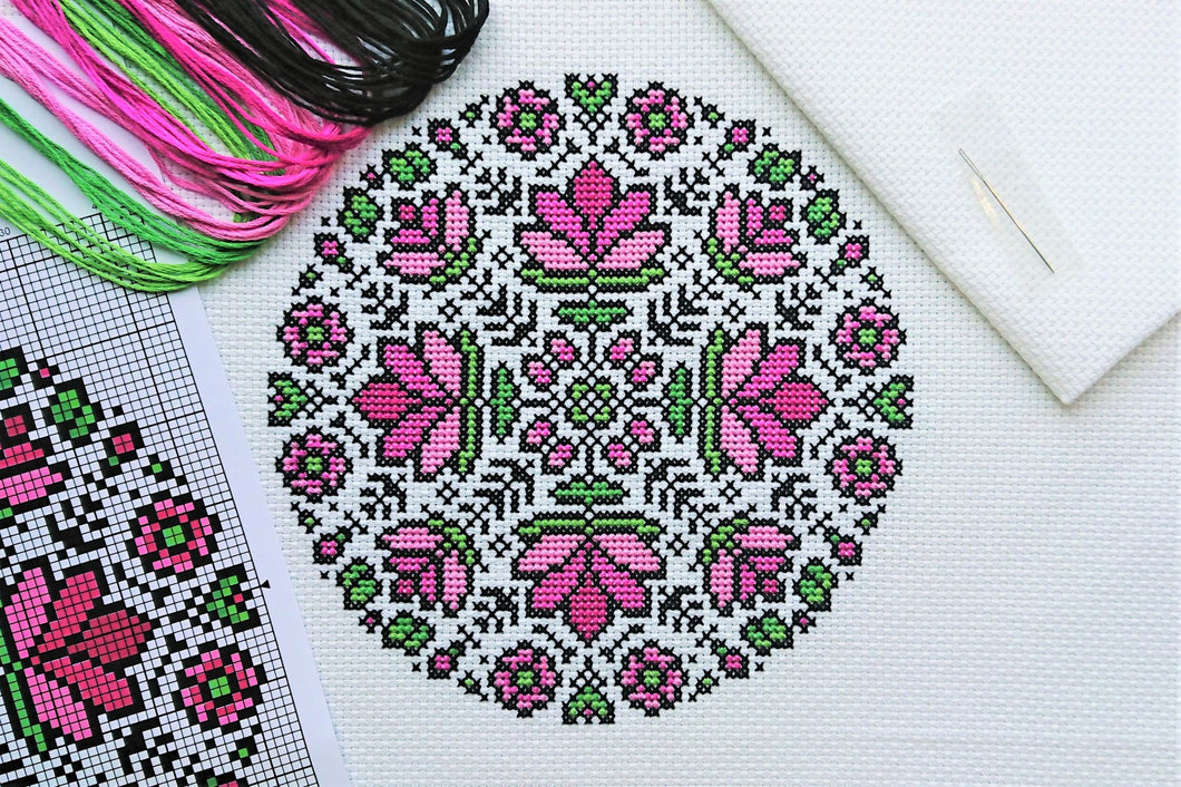 Lotus Mandala Cross Stitch Kit