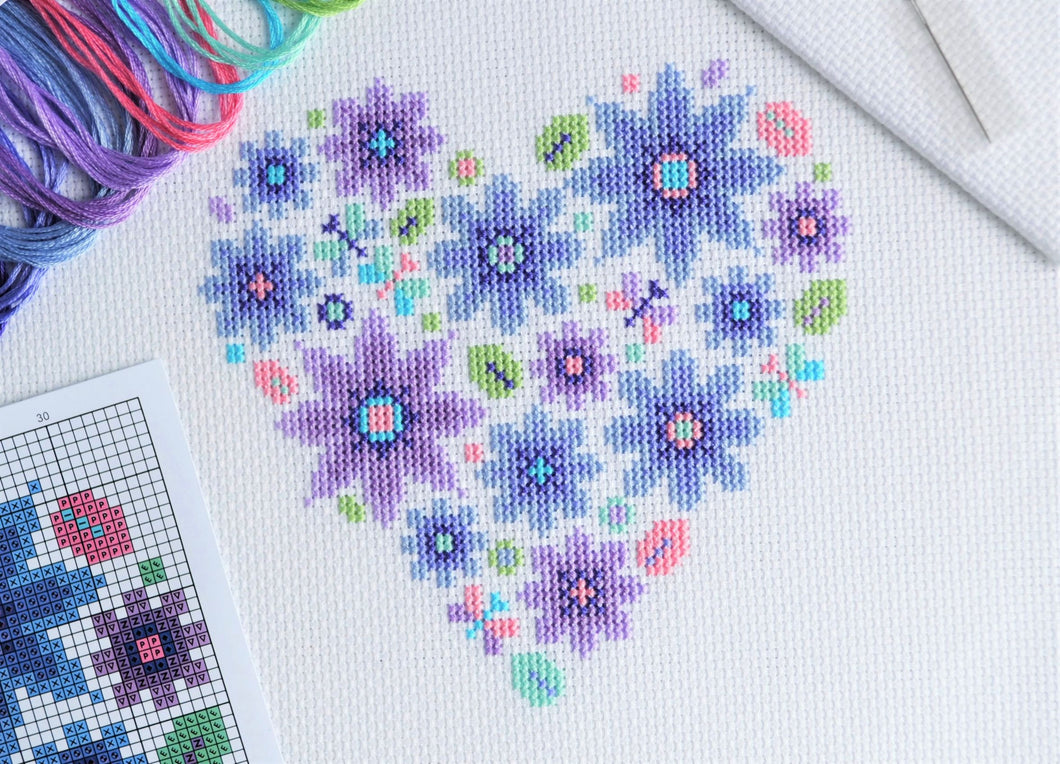 Mini Floral Heart Cross Stitch Kit
