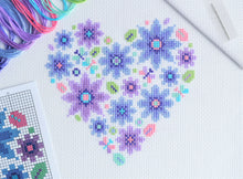 Load image into Gallery viewer, Mini Floral Heart Cross Stitch Kit